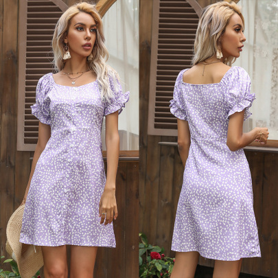 Summer New Chiffon Floral Square Neck Ruffled Horn Short-sleeved Dress NSYYF61483
