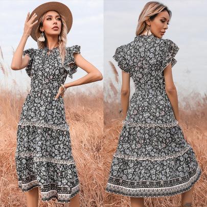 New Summer Slim Floral V-neck Trumpet Sleeve Dress NSYYF61488