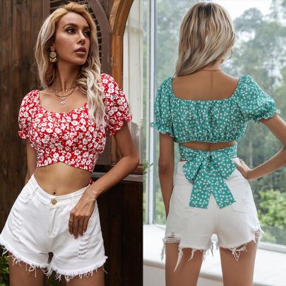 Sexy Summer New Printed Square Neck Horn Short Sleeve Chiffon Shirt NSYYF61497