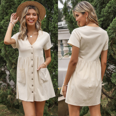 Summer New Cotton And Linen Loose Solid Color V-neck Short-sleeved Pleated Shirt Dress NSYYF61498