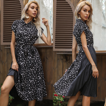Summer New Short-sleeved Printed Lapel Stitching Pleated Lace Dress NSYYF61499
