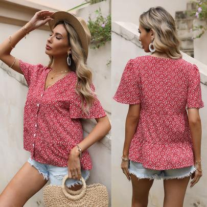 Summer New Loose Short-sleeved Chiffon Floral V-neck Ruffle Shirt NSYYF61500