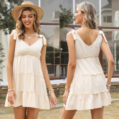 Summer New Style Cotton And Linen Loose Short Dress NSYYF61502
