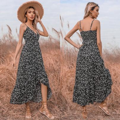Summer New Style Chiffon Sexy Print V-neck Irregular Suspender Dress NSYYF61506