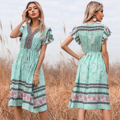 Summer New Waist Floral V-neck Lace Elastic Short-sleeved Dress NSYYF61508
