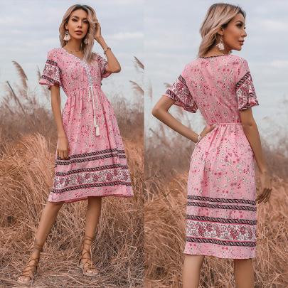 Summer New Pink Floral Lace-up Slim Short-sleeved V-neck Dress NSYYF61509