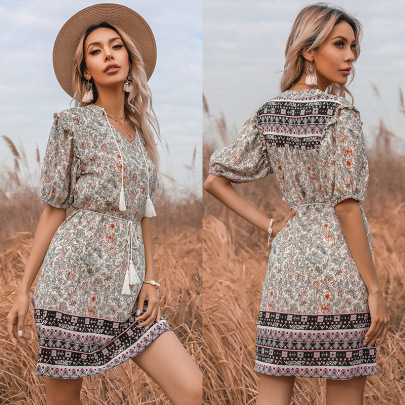 Summer New Floral V-neck Fringed Lace Skirt Dress NSYYF61511