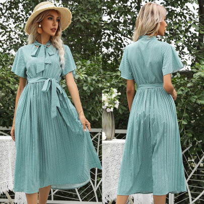 Summer New Style Short-sleeved Lace-up Pleated Dress NSYYF61515