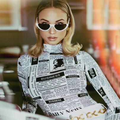 Printed Personality Slim Long-sleeved Bodysuit NSHTL61525
