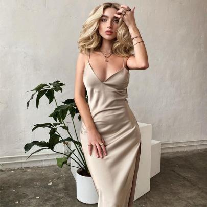 New Backless V-neck Split Dress NSHTL61528