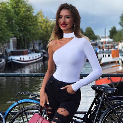 Fashion Halter One-shoulder Slim Bodysuit NSHTL61539
