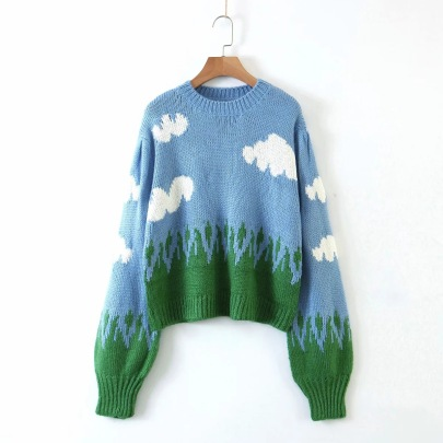 Blue Sky White Cloud Round Neck Pullover Sweater NSHS61558