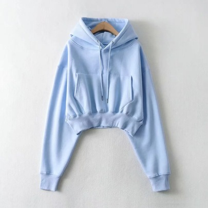 Pure Color Short Hoodie Sweater NSHS61560