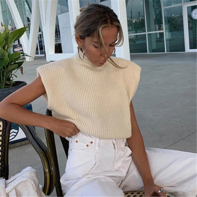High-neck Loose Knitted Vest NSHS61571