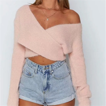 Cross V-neck Sexy Cropped Short Long-sleeved Sweater NSHS61576