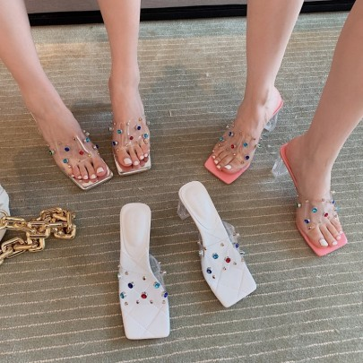 Rivets Thick Heel Crystal Transparent Hollow Slippers NSHU61624