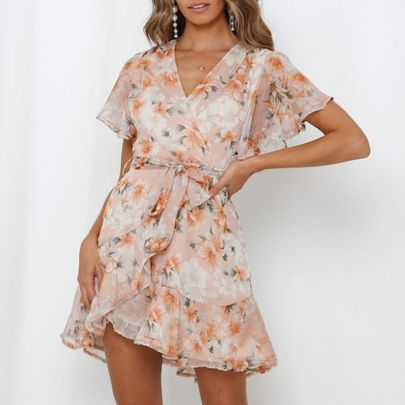New V-neck Lace-up Printed Ruffle Dress NSAXE61721