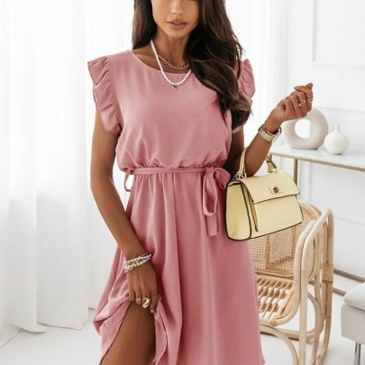 Solid Color Waist Tie Dress NSAXE61722