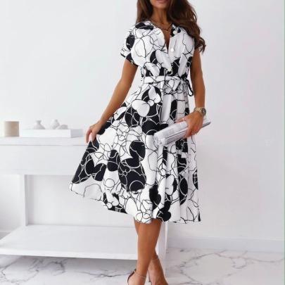 Fashion Print Shirt Dress NSAXE61724