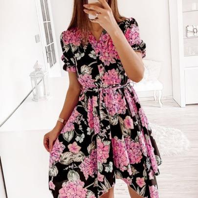 Fashionable Waistband Short Sleeves Dress  NSAXE61729