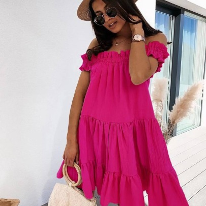 Flat Neck Fashion Loose Dress NSAXE61730