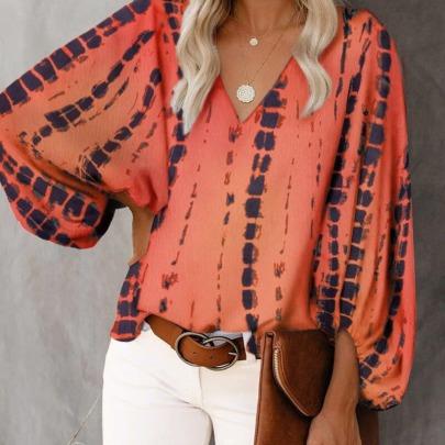V-neck Fancy Lantern Sleeve Shirt NSAXE61734