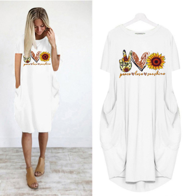 Wholesale Fashion Round Neck Printed Short Sleeve Casual Dress NSJIN61955
