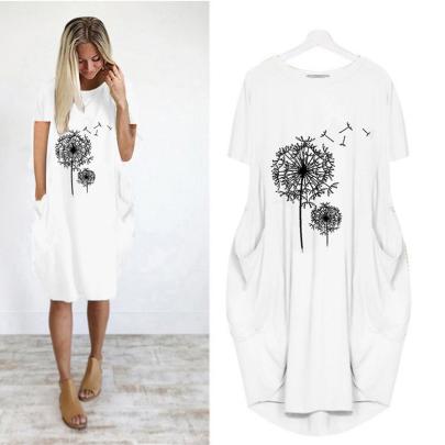 Wholesale Printed Short Sleeve Casual Dress NSJIN61954