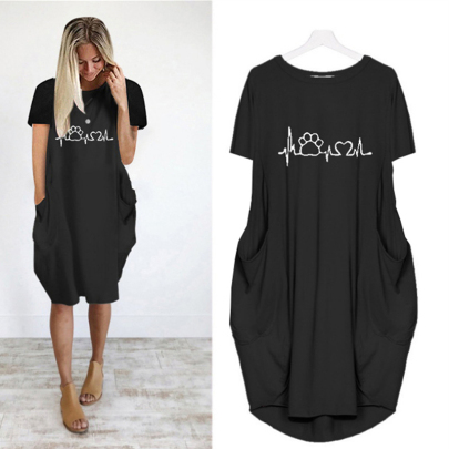 Comfortable Hot Sale Fashion Round Neck Printed Short Sleeve Pocket Casual Dress NSJIN61953