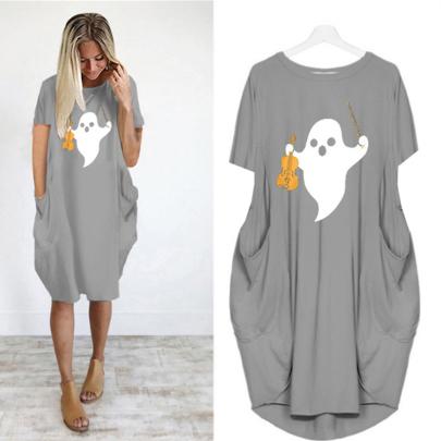 Hot Sale Fashion Round Neck Print Short Sleeve Casual Dress NSJIN61952