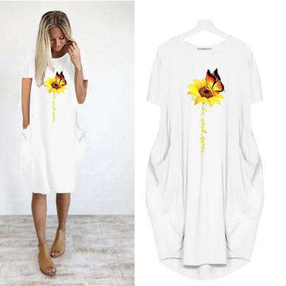Summer Comfortable Round Neck Print Short Sleeve Casual Dress NSJIN61950