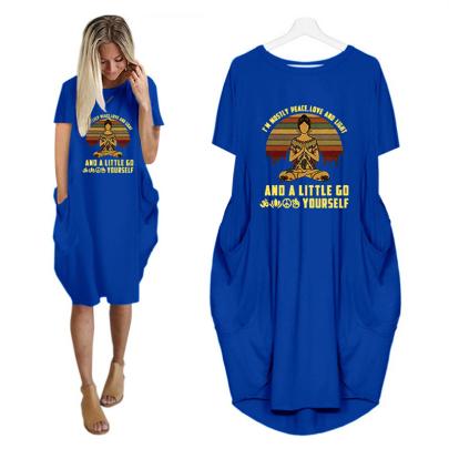 Fashion Round Neck Printed Short Sleeve Pocket Casual Dress NSJIN61946