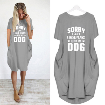 New Fashion Letter Print Round Neck Short Sleeve Casual Dress NSJIN61945