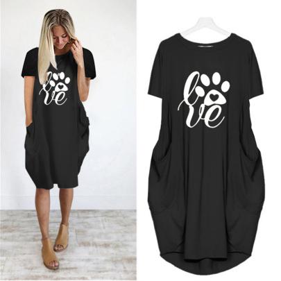 New Printed Short Sleeve Casual Dress NSJIN61940