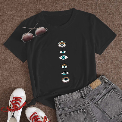 Eye Print Casual Short-sleeved T-shirt Women NSYAY61992