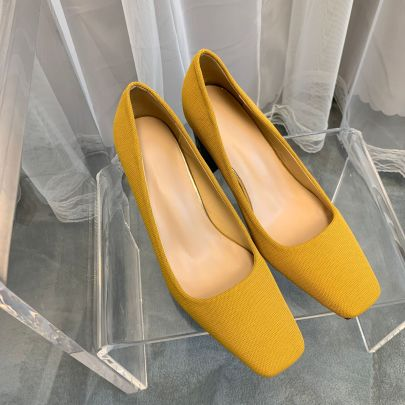 Square Toe Thick Heel High Heels NSCA61753