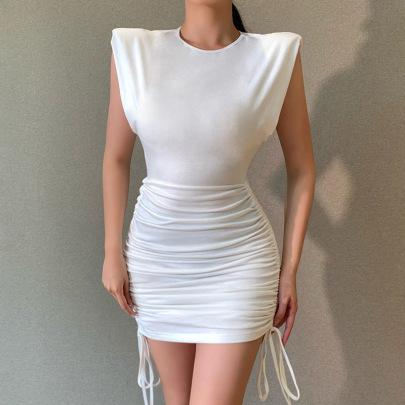 Shoulder Pad Drawstring Summer Sleeveless Simple Slim-fit Hip Skirt NSFLY61760