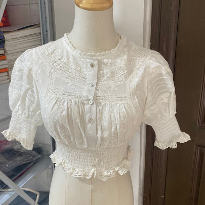 Lace Short Puff Sleeve Single-breasted Crochet Shirt NSHS61786