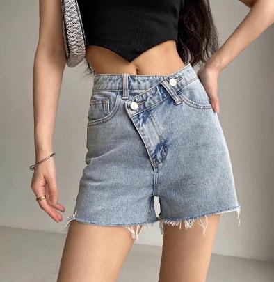 Irregular Oblique Waist Slimming Straight Shorts NSHS61787