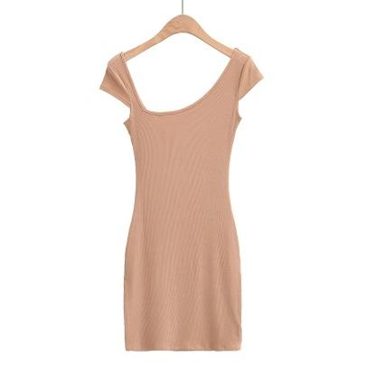 Shoulder Irregular New Elastic Short-sleeved Dress NSHS61788