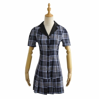 Small Lapel Plaid Waist New Style Contrast Color Ruffled A-line Skirt NSHS61810
