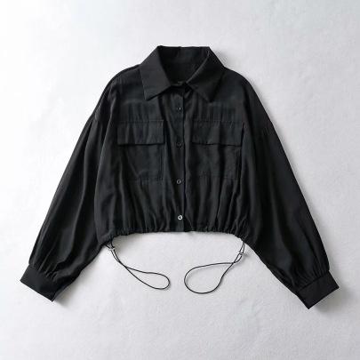 Loose Hem Drawstring Single-breasted Loose Jacket Blouse NSHS61816