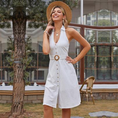 Belt White Solid Color Halter-neck Shirt Dress  NSYYF61868