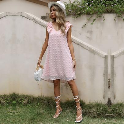 Loose Pink Solid Color V-neck Stitching Wood Ear Vest Dress  NSYYF61873