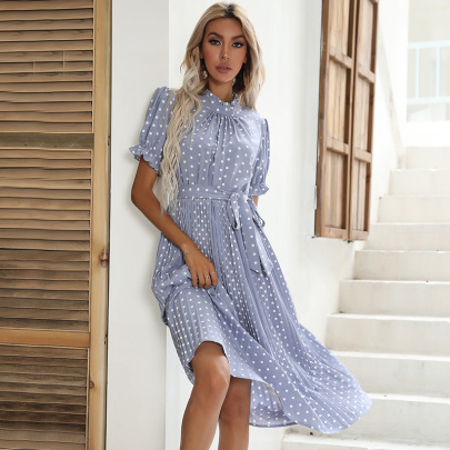 Mid-length Short-sleeved Round Neck Tie Pleated Dress  NSYYF61878