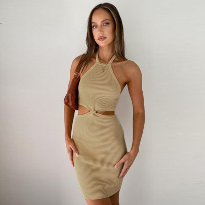 Sexy Halter One-step New Pit Strip Twisted Hollow Short Skirt Dress NSFLY61920