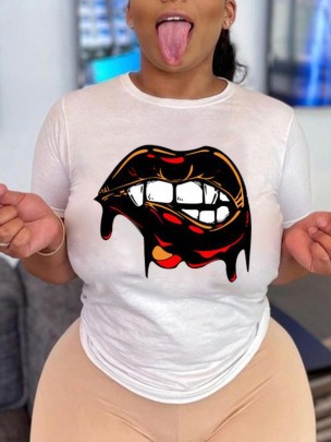 Lip Print Short-sleeved T-shirt  NSAIT61986