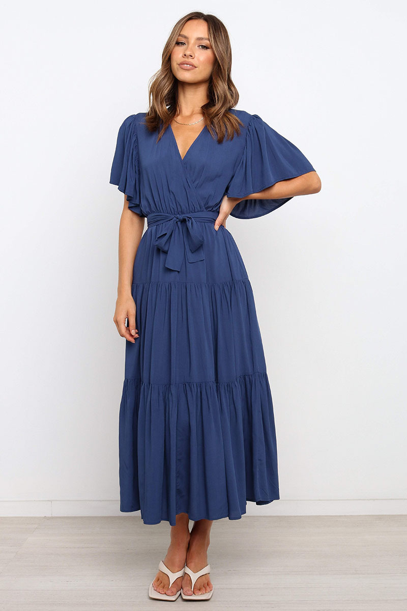 Nihaostyles clothing wholesale v-neck hot style solid color short-sleeved long dress NSOUY65678
