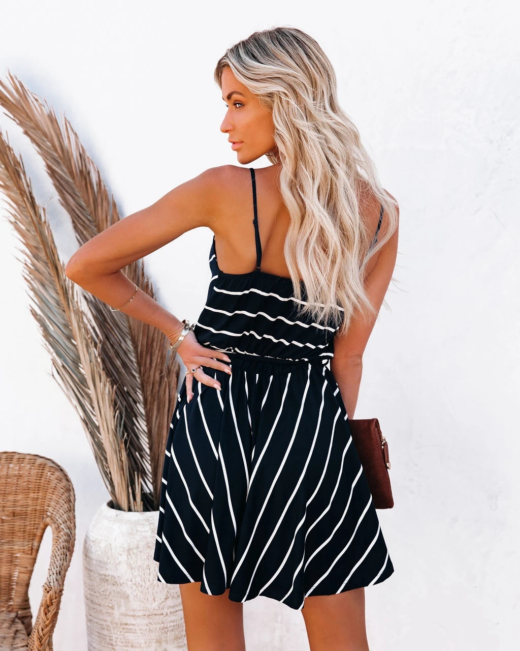 nihaostyle clothing wholesale new style striped V-neck suspender dress NSOUY67474