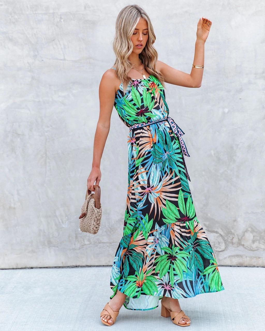 nihaostyle clothing wholesale new style print big-line ruffled suspender dress NSOUY67381
